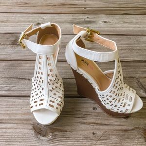 JustFab Sky high white cut out wedges